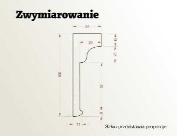 WSC45 sztukateria wewnetrzna XPS panstyropian listwa ścienna WYMIARY